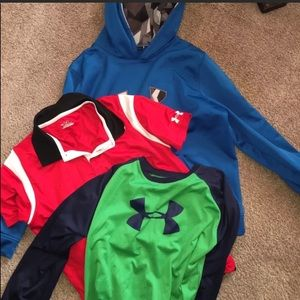 Lot of 3 Boys Under Armour Shirts/Hoodie Youth XL